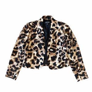 Kasper Open Front Leopard Print Blazer